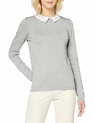 Dorothy Perkins Women's Grey Marl 2 in 1 Spot Collar Jumper Pullover Sweater 20