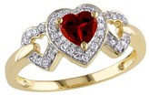 1/2 CT. T.W. Garnet and 1/8 CT. T.W. Diamond Heart Ring in 10K Yellow Gold (GH) (I2:I3)