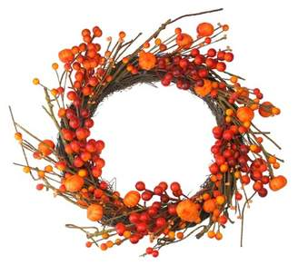 Northlight Red and Orange Fall Berry and Mini Pumpkin Artificial Thanksgiving Wreath - 20-Inch