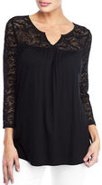 NYDJ Three-Quarter-Sleeve Lace-Trim Jersey Top