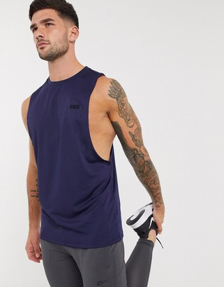 ASOS 4505 icon training sleeveless t-shirt with dropped armhole in navy