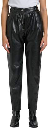 MSGM High-raise Faux Leather Trousers With Pinces