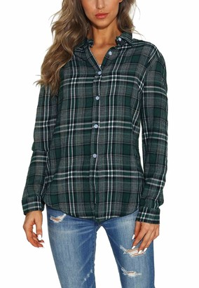 GUANYY Women's Long Sleeve Casual Loose Classic Plaid Button Down Shirt (Red White Plaid Large)
