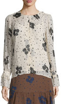 See by Chloe Long-Sleeve Floral Silk Top, Nude