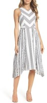 Adelyn Rae Women's Vidette Pleated Stripe Midi Dress