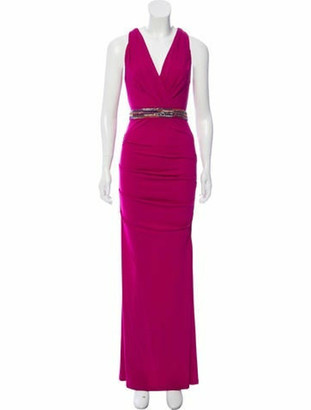 Nicole Miller Plunge Neckline Long Dress Pink