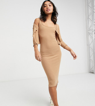 New Look Petite ribbed dress and cardi set in camel