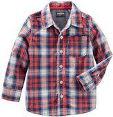 Osh Kosh Toddler Boy Long Sleeve Plaid Poplin Button-Down Shirt