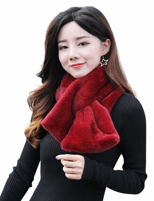 Central Chic Luxurious Faux Fur Scarf Snood In Black