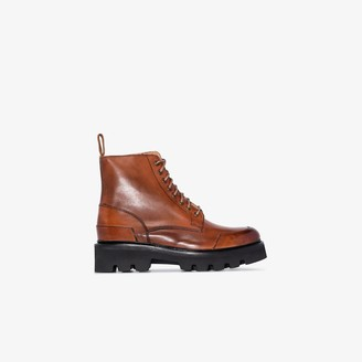 Grenson brown Bessie flat lace-up leather ankle boots