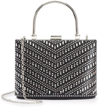 La Regale Lenore By Women's Leore by Chevron Pattern Crystal Embellished Top Handle Clutch