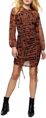Topshop Ruched Long Sleeve Minidress