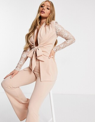 ASOS DESIGN jersey tie front blazer with lace sleeves in pale pink