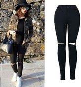 Billila Women Slim Pencil Trousers Cool Ripped Knee Cut Skinny Long Jeans Pants (L)