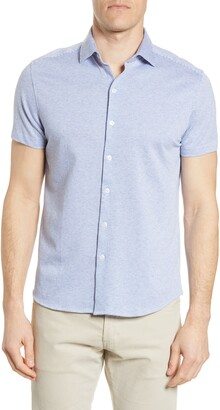 Robert Barakett Willem Stripe Short Sleeve Knit Button-Up Shirt