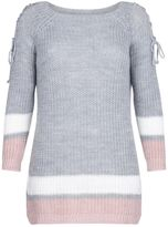 Quiz Grey Pink And Cream Jumper