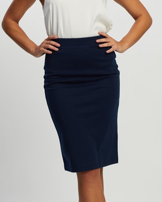 Atmos & Here Atmos&Here - Women's Navy Pencil skirts - Ponte Pencil Skirt - Size 6 at The Iconic