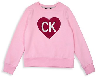 Calvin Klein Girl's Heart Sequin Cotton-Blend Sweatshirt