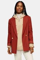 Topshop Rust Self Stripe Blazer With Linen