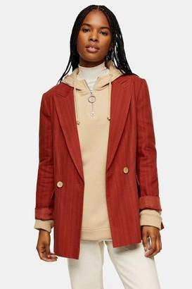 Topshop Womens Rust Self Stripe Blazer With Linen - Rust