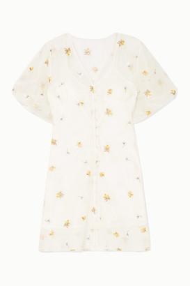 Olivia von Halle + Maleficent Edie Pearl-embellished Embroidered Silk-organza Mini Dress - White