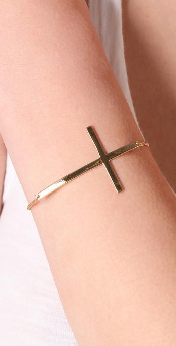 "Jennifer Zeuner Jewelry 2"" Horizontal Cross Bracelet"