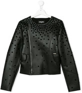 DSQUARED2 lozenge appliqué biker jacket