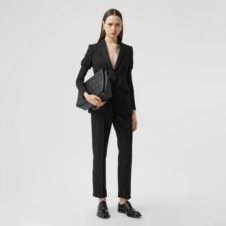 Burberry Silk Blend Side Stripe Wool Tailored Trousers