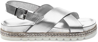 J/Slides Lee Metallic Leather Flatform Slingback Sandals