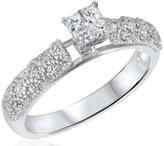 My Trio Rings 1/2 CT. T.W. Diamond Ladies Engagement Ring 14K White Gold- Size 11