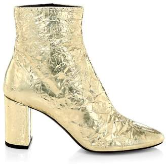 Saint Laurent Lou Crinkle Metallic Ankle Boots