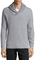 Neiman Marcus Cashmere by Billy Reid Shawl-Collar Textured Sweater, Gray