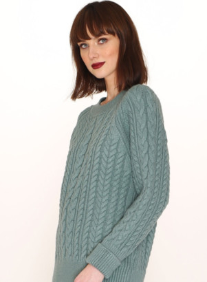 PepaLoves Cables Warm Jumper In Green - S