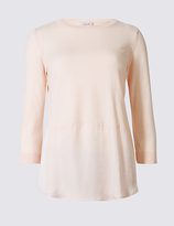 Per Una Pure Cotton Round Neck 3/4 Sleeve Jumper