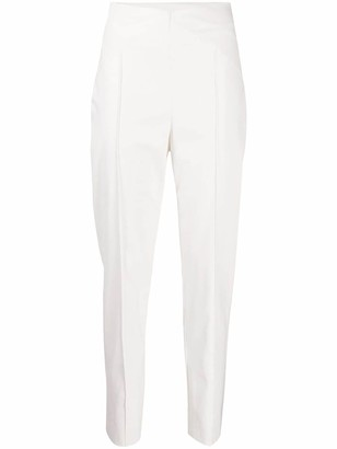 Nude High-Waisted Faux Leather Trousers