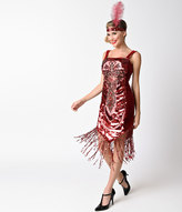 Dreamgirl Red Sequin Deco Gatsby Girl Fringe Flapper Costume