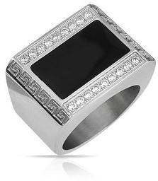 Bling Jewelry Men Geometric Rectangle CZ Greek Key Black Signet Ring Stainless Steel