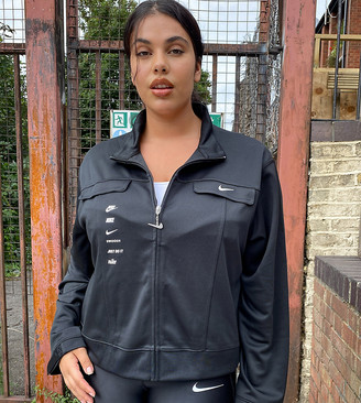 Nike Plus swoosh track jacket in black