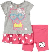 Hello Kitty Bike Shorts Set (Baby/Toddler) - Heather Grey-2T
