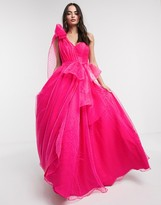 Bariano full prom one shoulder maxi dress with detachable waist bow detail in fuchsia