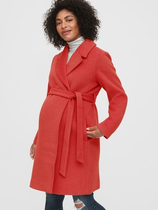 Gap Maternity Wool Blend Wrap Coat