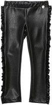 Simonetta FAUX LEATHER LEGGINGS W/ RUFFLES