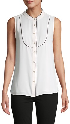 Tommy Hilfiger Contrast-Piping Sleeveless Shirt