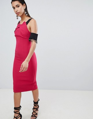 The 8th Sign Pencil Midi Dress With Lace Sleeve Detail-Pink