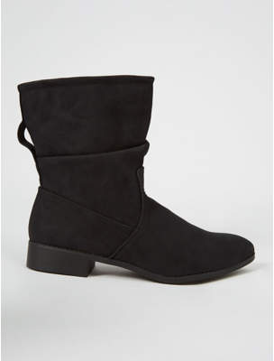 George Black Slouch Low Heel Calf Rise Boots