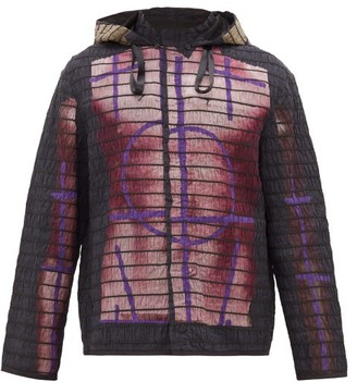 Craig Green Elastic-quilted Body-print Cotton Jacket - Purple