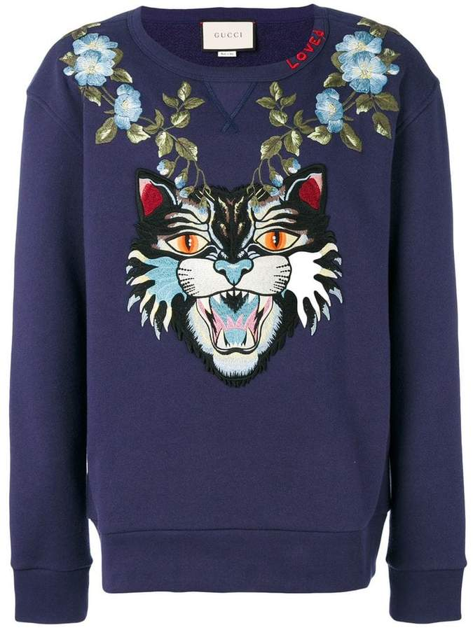 Gucci Angry Cat and floral appliqué sweatshirt