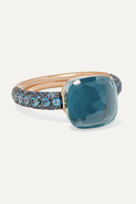 Pomellato Nudo 18-karat Rose And White Gold, Turquoise And Topaz Ring - Rose gold