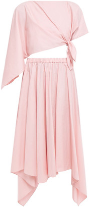 Rosie Assoulin Asymmetric Draped Cotton-poplin Top And Skirt Set
