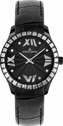 Jacques Lemans Rome Ladies Black Leather Strap Watch